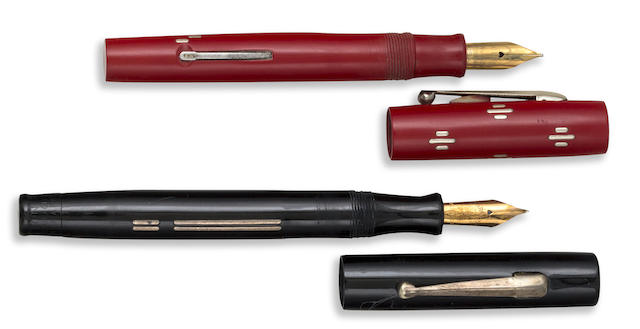 CHILTON: Pair of Wing-Flow Fountain Pens, Red and Black