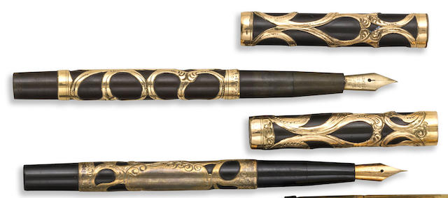 PARKER: Pair of No. 16 Gold-Plated Filigree Fountain Pens