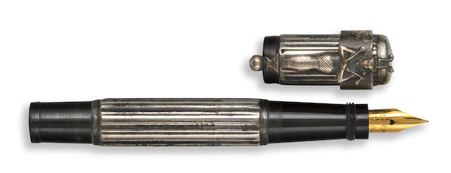 WATERMAN: No. 42 1/2 V Safety Pen, Silver Overlay, Egyptian Revival Accommodation Clip