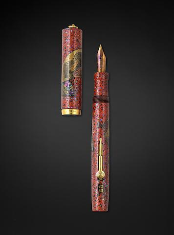 NAMIKI: Rare Red Lacquer Maki-e and Raden Vest Fountain Pen by Shogo, Japanese Fan Motif, A-Grade