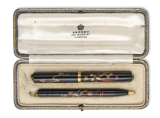 NAMIKI: Pre-Dunhill Lovebirds Maki-e Fountain Pen and Propelling Pencil Set, Original Asprey Box and Nib