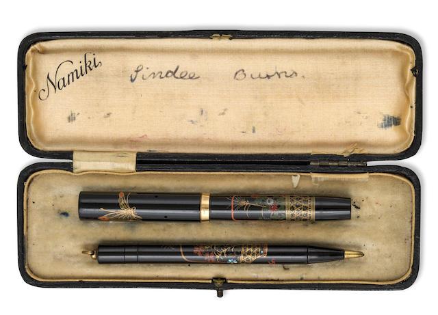NAMIKI: Butterflies and Flower Basket Maki-e and Raden Fountain Pen and Propelling Pencil Set, Asprey Nib, Period box