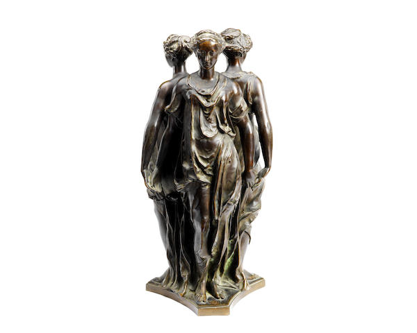 A late 19th century French bronze figural group of the Three Graces