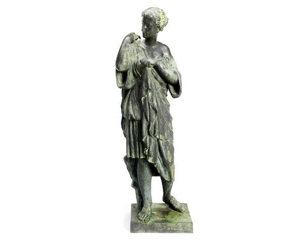 Neapolitan bronze figure of Diana de Gabies