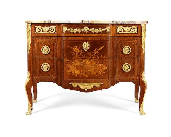 gilt bronze mounted mahogany, bois satine marquetry and parquetry commode