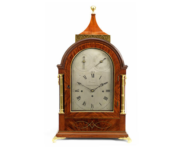An impressive George III crossbanded mahogany and gilt brass mounted and strung musical table / bracket clock
