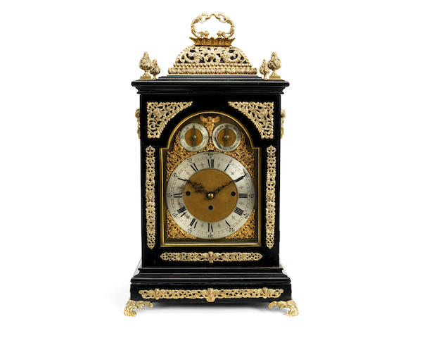 A late Victorian ebonised and gilt brass mounted musical table / bracket clock