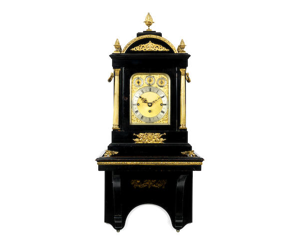 A late 19th century ebonised and gilt brass mounted musical fusee bracket clock
