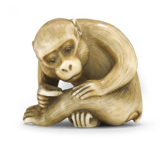 An ivory netsuke of a monkey