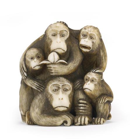 An ivory netsuke of monkeys