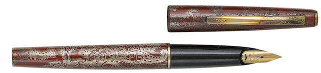 PILOT-NAMIKI: Sterling Silver and Red Lacquer Fountain Pen