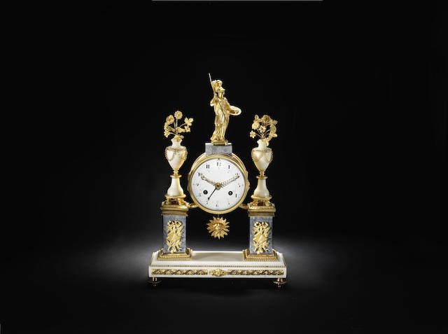 A late 18th century French ormolu-mounted marble mantel clock with decimal time indication