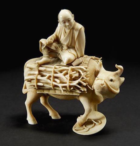 An ivory model of a brushwood gatherer