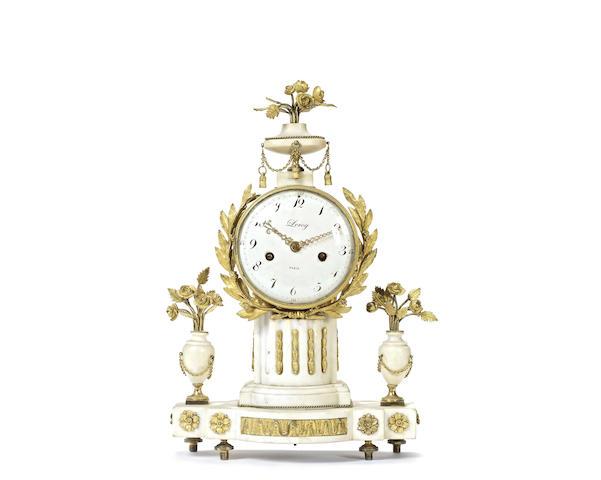 A Louis XVI gilt bronze and marble mantel clock