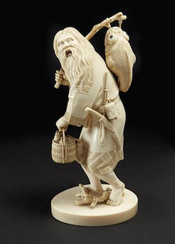 An ivory model of an Ainu man