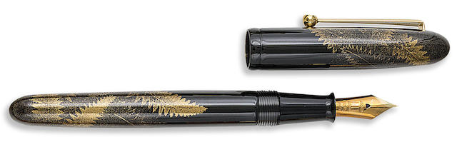 DUNHILL-NAMIKI: Haresfoot, Fern and Dew Drops Maki-e Limited Edition 200 Fountain Pen