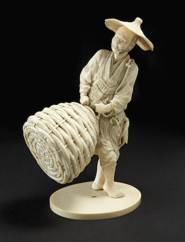 An ivory model of a fisherman