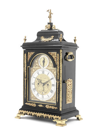 A George III ebonised and gilt brass mounted fusee table clock