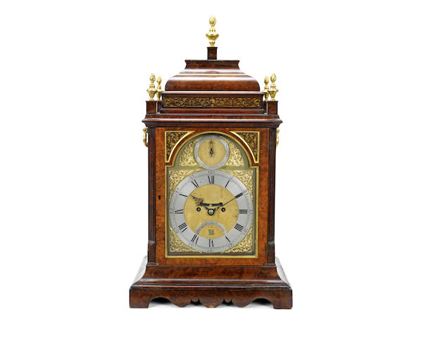 A George III walnut and gilt brass mounted fusee table clock