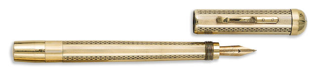 ASTORIA: No. 2 Rolled Gold Barleycorn and Fence Pattern Safety Fountain Pen