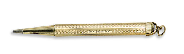 MONTBLANC: No. 002 Propelling Pencil, Solid 14K Gold, Guilloche Pattern, by Sarastro