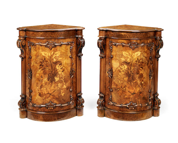 A pair of walnut, purplewood, satinwood and fruitwood marquetry bowfront corner cabinets