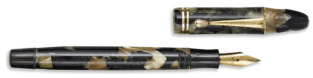 MONTBLANC: Meisterstück No. L30 Push-Knob Filler Fountain Pen, Black and Pearl Celluloid