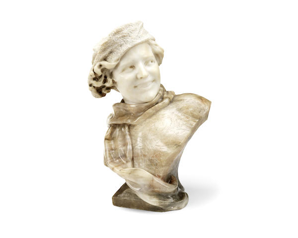 An early 20th century Italian carved alabaster bust of a young lady