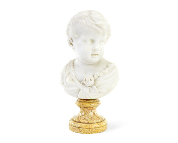 A late 19th century Italian marble bust of a child