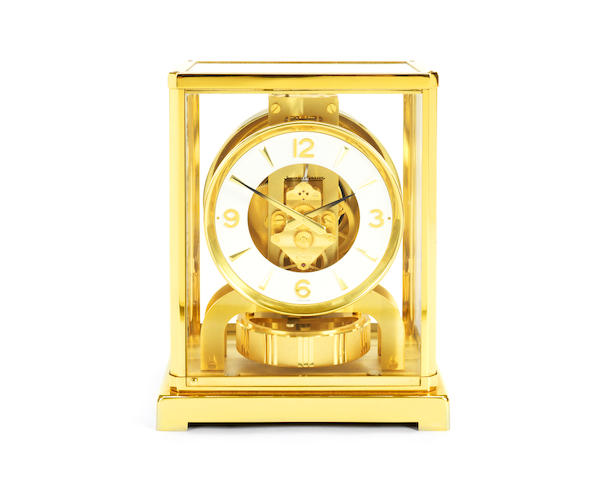 A Jaeger-Le-Coultre lacquered brass Atmos clock