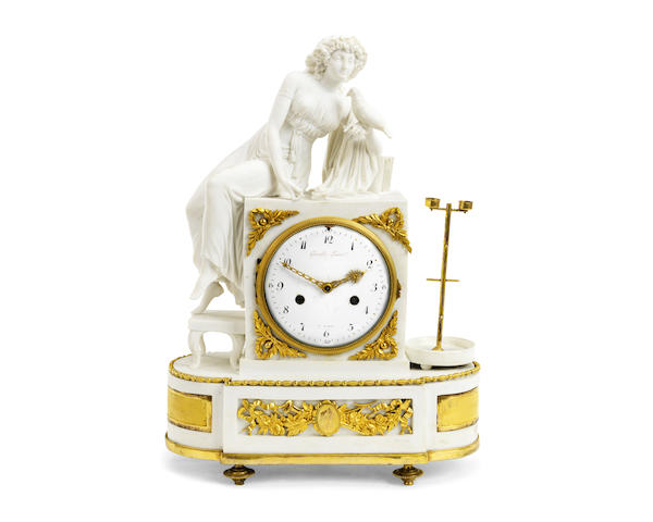 A late 18th / early 19th century French white biscuit porcelain and gilt bronze mounted figural mantel clock