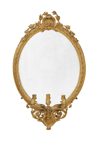 A French late 19th century giltwood and composition girandole