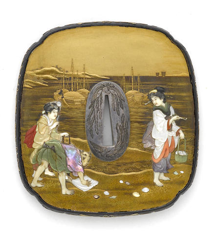 A Shibayama style presentation tsuba