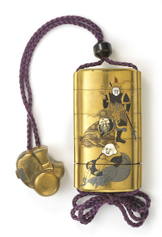 A gilt lacquer four-case inro and matching netsuke