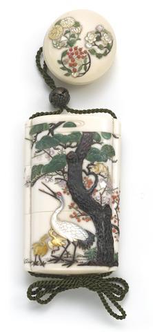 A Shibayama inlaid ivory two-case inro and matching netsuke