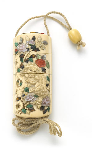 A Shibayama three-case ivory inro