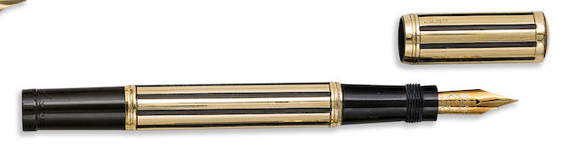 MONTBLANC: 5M Night and Day Rolled Gold Overlay Safety Fountain Pen, No. 5 Simplo Nib,