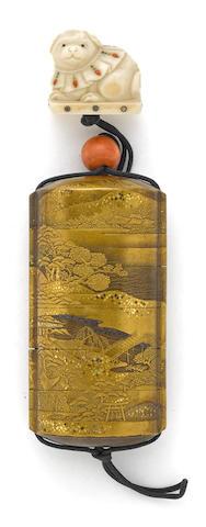 A five-case gilt lacquer inro