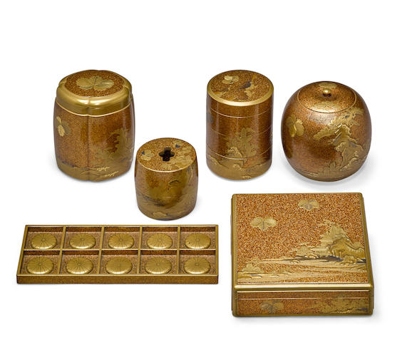 A group of six lacquer utensils for the incense ceremony