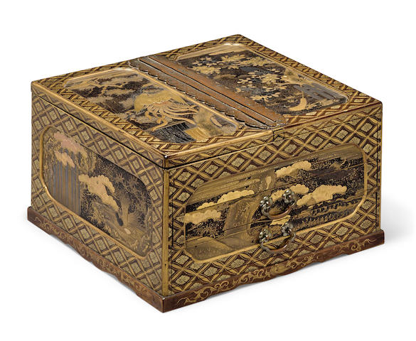 A lacquer decorated stationery box