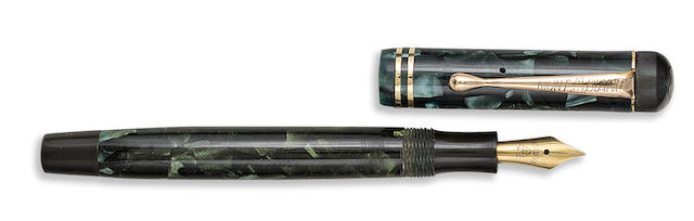 "MONTBLANC: III Series ""B"" Blue-Green Marbled Celluloid Piston-Filler Fountain Pen"