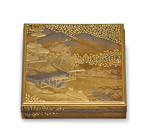 A gilt lacquer incense container, kogo