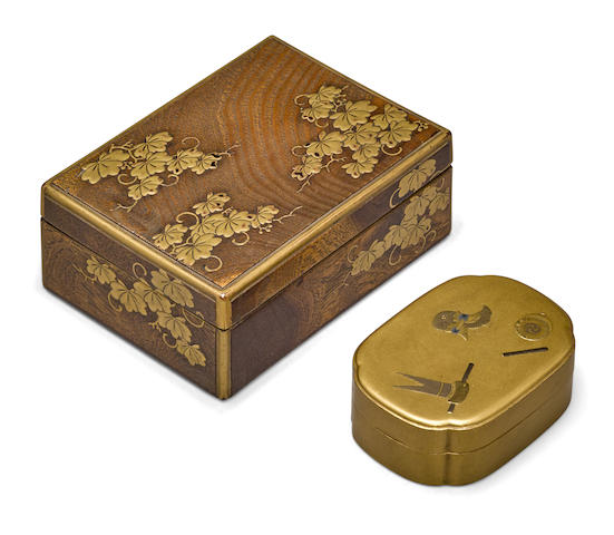 Two lacquer decorated containers