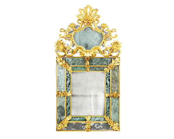 A large Italian 19th century giltwood and etched glass marginal mirror