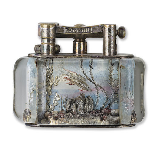 DUNHILL: Aquarium Lighter, Hand-Painted, Silver-Plated