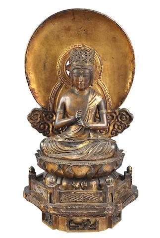 A gilt wood figure of Dainichi Nyorai