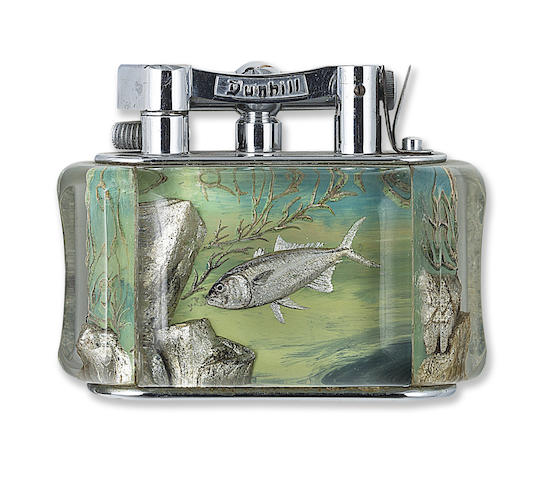 DUNHILL: Aquarium Lighter, Marlin Theme, Hand-Painted, Chrome-Plated