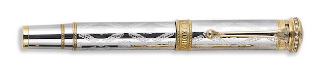 AURORA: Giuseppi Verdi La Royale Solid Platinum & Diamonds Limited Edition 99 Fountain Pen