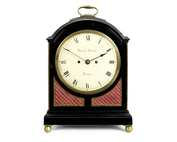 A Regency ebonised and brass mounted fusee bracket / table clock with pull repeat