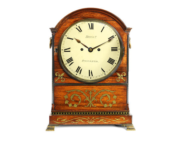 A Regency rosewood and brass inlaid fusee table / bracket clock with pull repeat